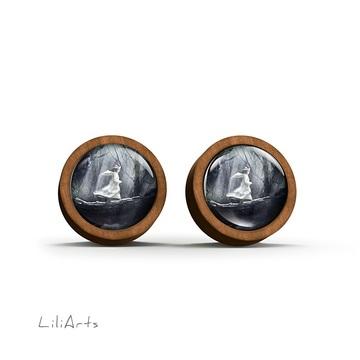 Wooden earrings - Magic forest - sticks