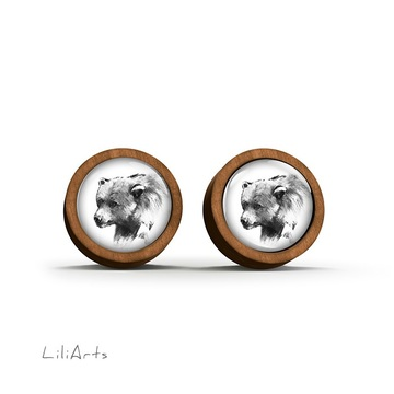 Wooden earrings - Bear - Into the wild - sticks