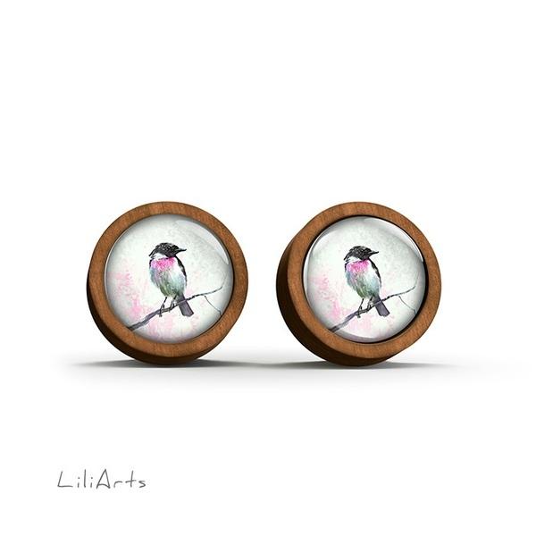 Kolczyki drewniane - Ptaszek - sztyfty