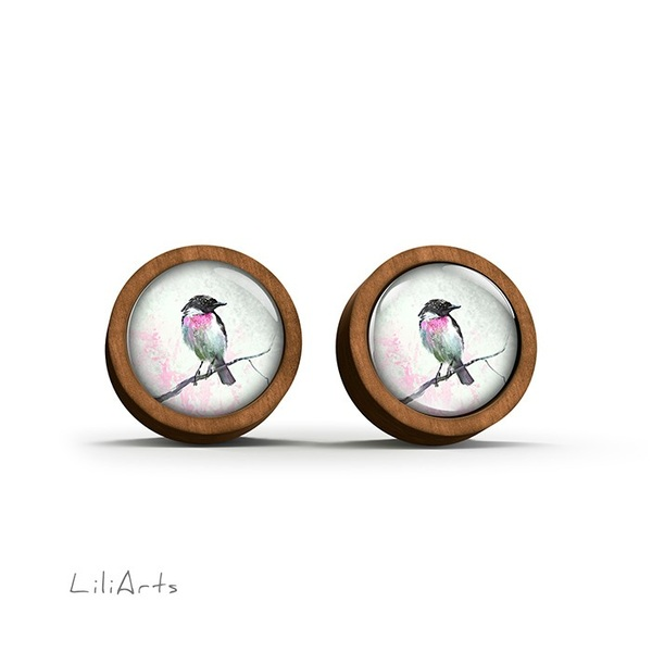 Wooden earrings - Bird - sticks