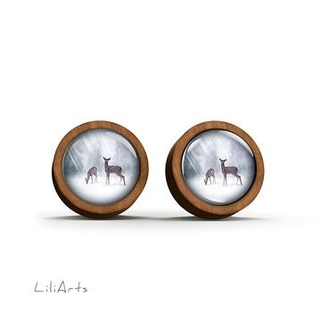 Wooden earrings - Roe deer - sticks