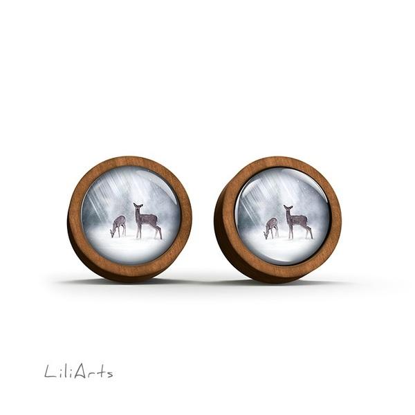 Kolczyki drewniane - Sarenki - sztyfty