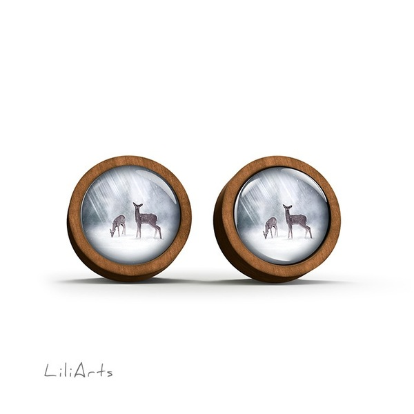 Wooden earrings - Roe deer - sticks