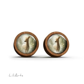 Wooden earrings - Roe deer in the forest - sticks