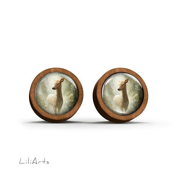 Kolczyki drewniane - Sarna w lesie - sztyfty