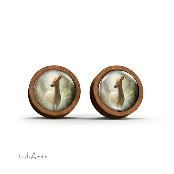 Wooden earrings - Roe deer in the forest - sticks