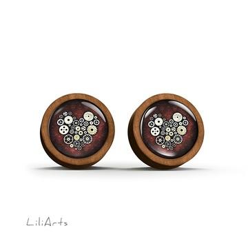 Wooden earrings - Steampunk heart - sticks