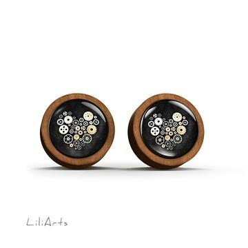 Wooden earrings - Steampunk heart black - sticks