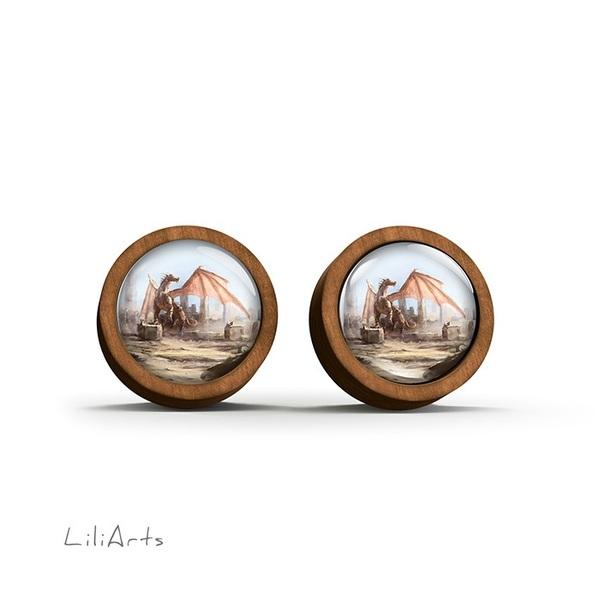 Kolczyki drewniane - Smok - sztyfty