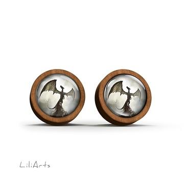 Wooden earrings - Shadow dragon - sticks
