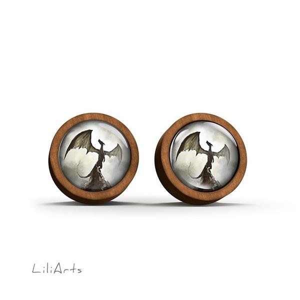 Kolczyki drewniane - Smok cienia - sztyfty