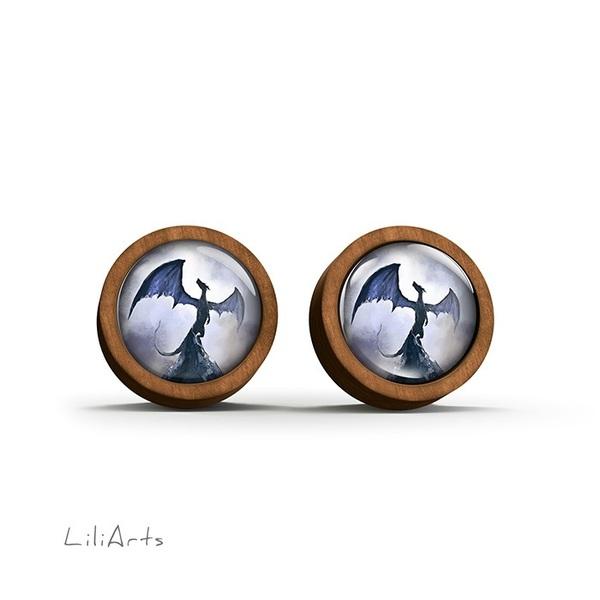 Kolczyki drewniane - Smok cienia, niebieski - sztyfty