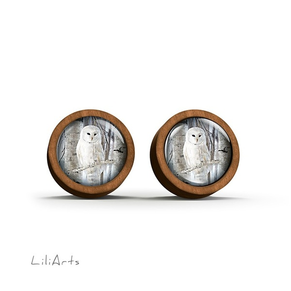 Kolczyki drewniane - Sowa - sztyfty