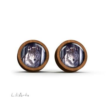 Wooden earrings - Gray wolf - sticks