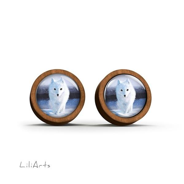 Kolczyki drewniane - Śnieżny lis - sztyfty