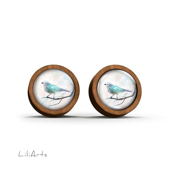 Kolczyki drewniane - Turkusowy ptaszek - sztyfty