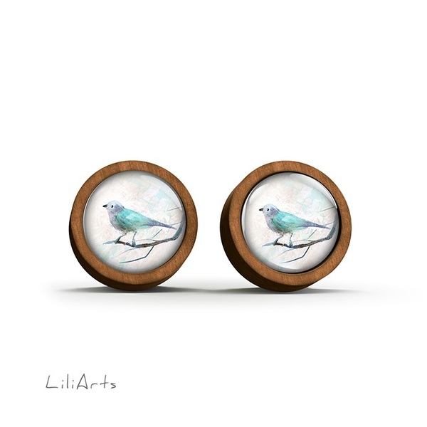 Wooden earrings - Turquoise bird - sticks