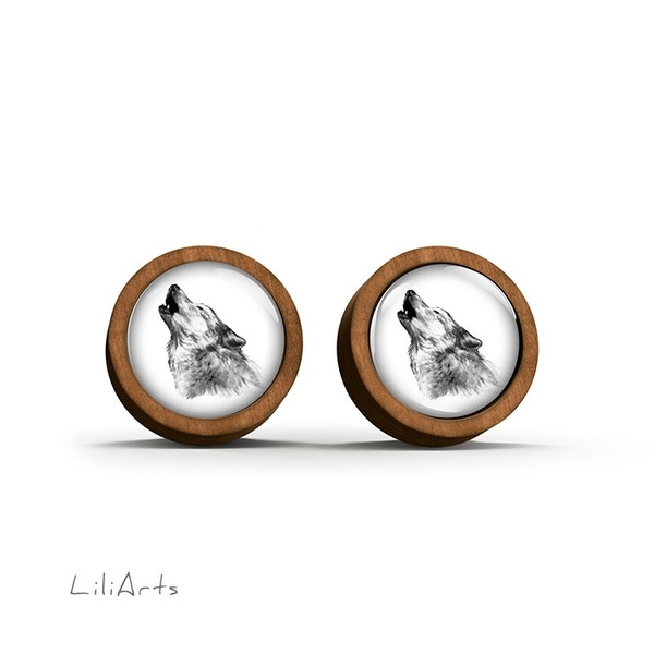 Wooden earrings - Wolf - Into the wild - sticks