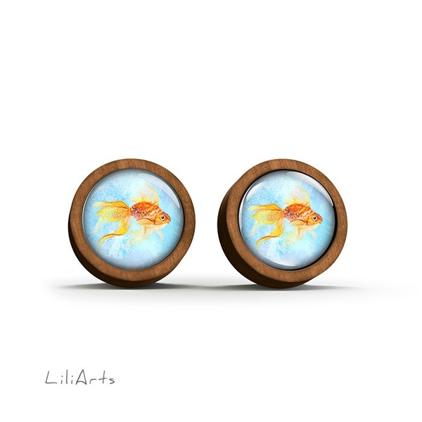 Wooden earrings - Gold fish 2 - sticks