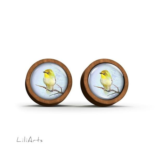 Kolczyki drewniane - Żółty ptaszek - sztyfty