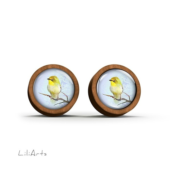 Wooden earrings - Yellow bird - sticks