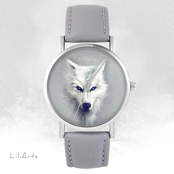 Zegarek LiliArts - Biały Wilk - szary, skórzany