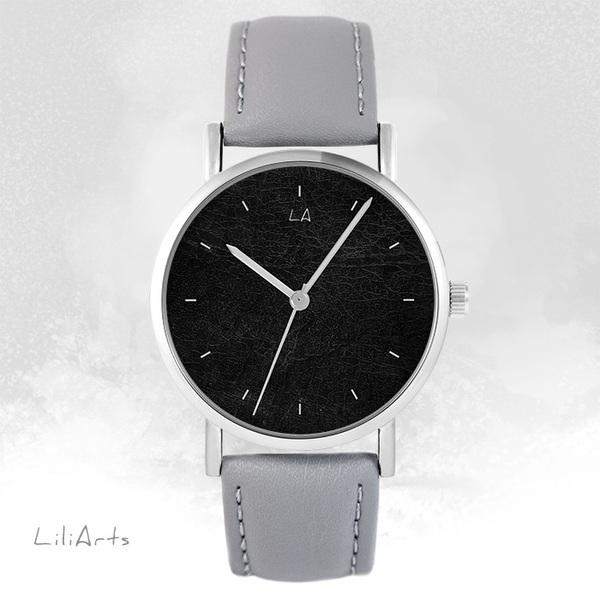 Zegarek LiliArts - Czarny - szary, skórzany