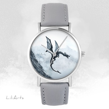 LiliArts watch - Black dragon - gray, leather