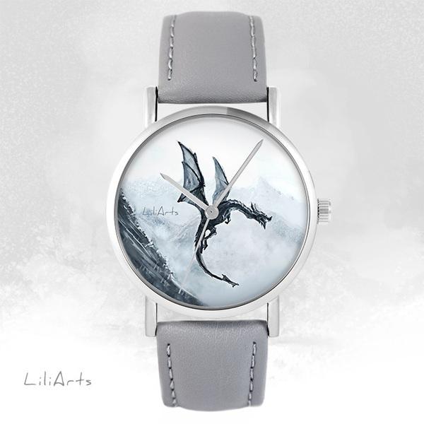 Zegarek LiliArts - Czarny smok - szary, skórzany