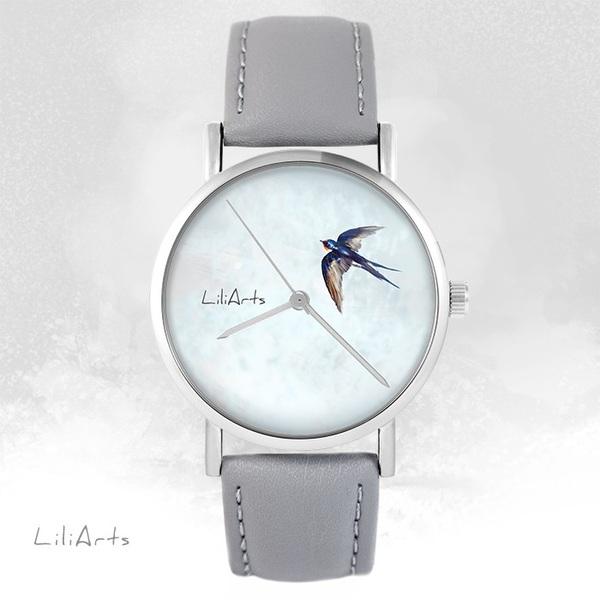 Zegarek LiliArts - Jaskółka - szary, skórzany