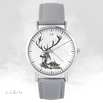LiliArts - Deer - Into The Wild watch - gray, leather