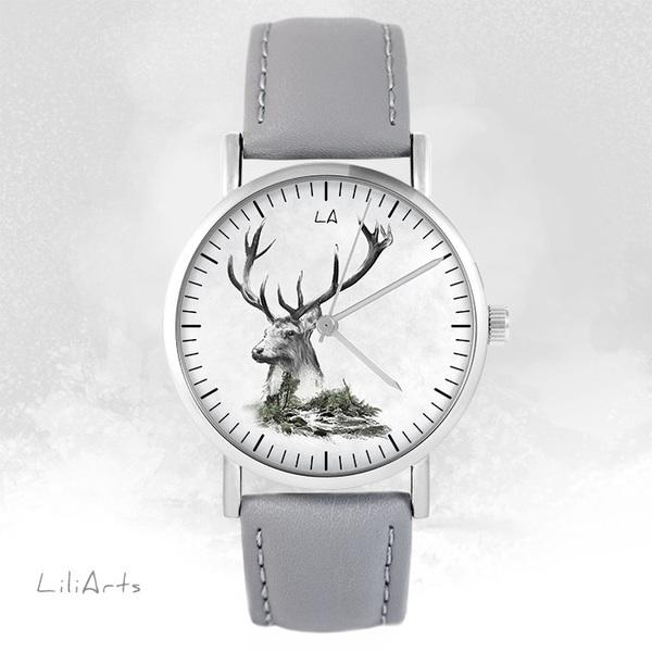 Zegarek LiliArts - Jeleń - Into The Wild - szary, skórzany
