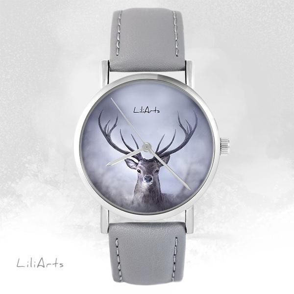 Zegarek LiliArts - Jeleń 1 - szary, skórzany