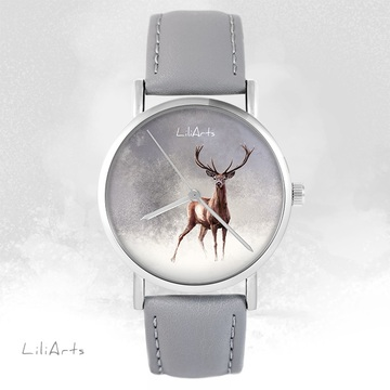LiliArts - Deer 2 watch - gray, leather