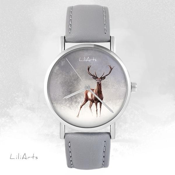 Zegarek LiliArts - Jeleń 2 - szary, skórzany