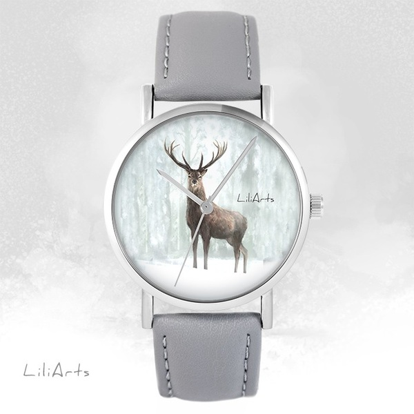 Zegarek LiliArts - Jeleń 3 - szary, skórzany