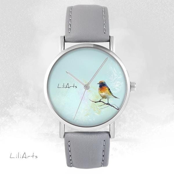 Zegarek LiliArts - Kolorowy ptaszek - szary, skórzany