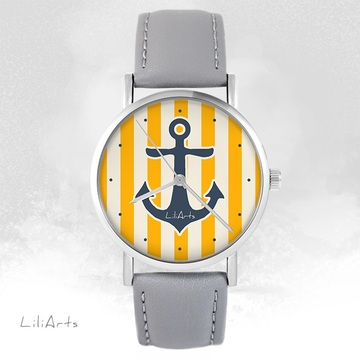LiliArts watch - Anchor - gray, leather