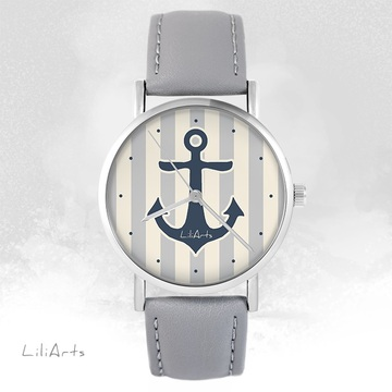 LiliArts watch - Gray anchor - gray, leather