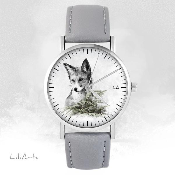 Zegarek LiliArts - Lis - Into The Wild - szary, skórzany