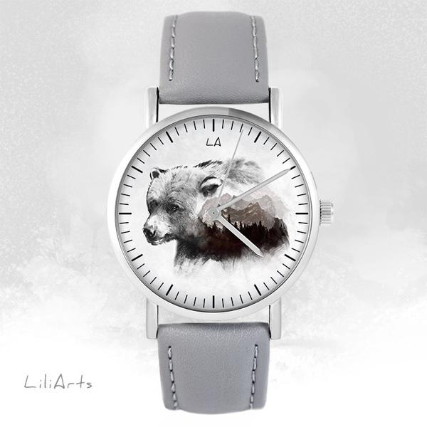 Zegarek LiliArts - Niedźwiedź - Into The Wild - szary, skórzany