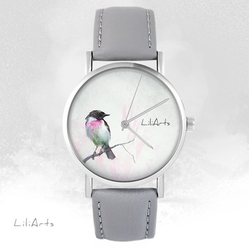 LiliArts watch - Pastel bird - gray, leather