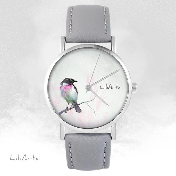 Zegarek LiliArts - Pastelowy ptaszek - szary, skórzany