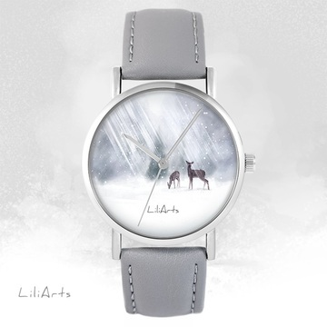 LiliArts - Roe-deer watch - gray, leather