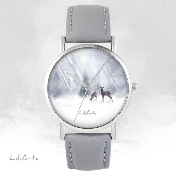 Zegarek LiliArts - Sarenki - szary, skórzany