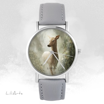 LiliArts watch - Roe deer in the woods - gray, leather