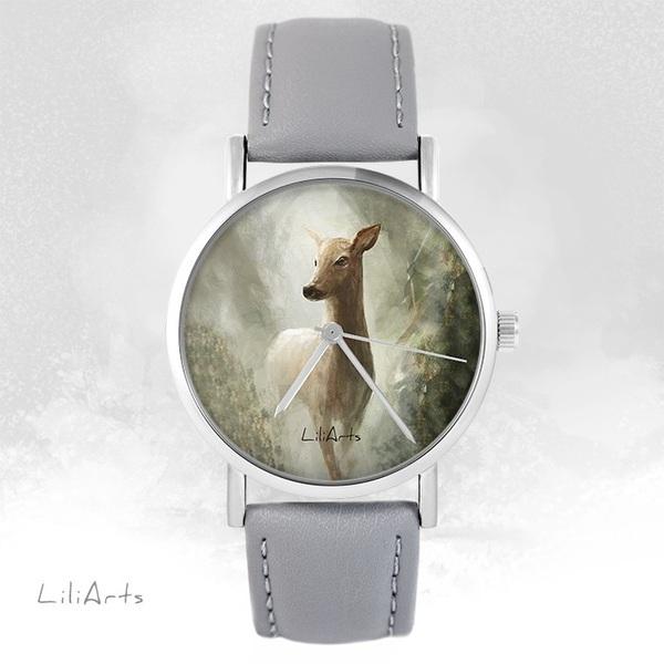 Zegarek LiliArts - Sarna w lesie - szary, skórzany