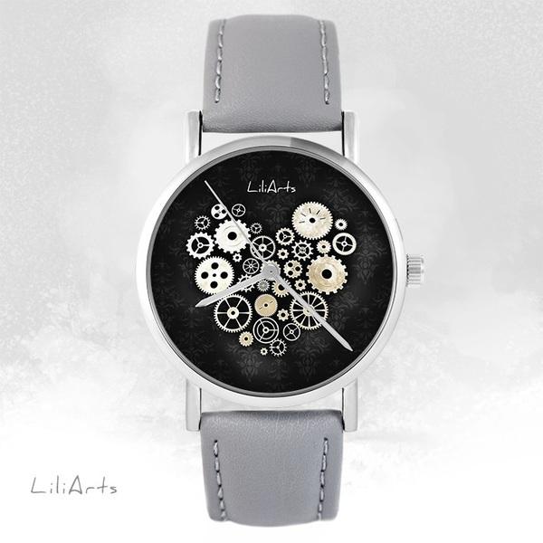 Zegarek LiliArts - Serce Steampunk czarne - szary, skórzany