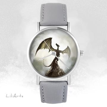 LiliArts watch - Shadow dragon - gray, leather