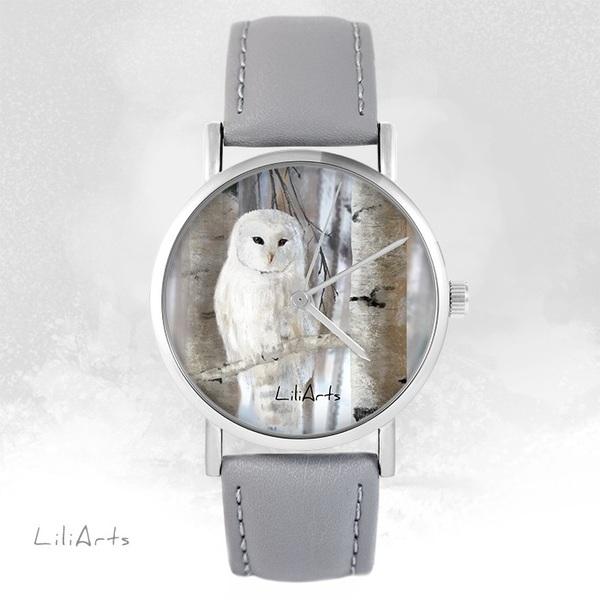 Zegarek LiliArts - Sowa - szary, skórzany
